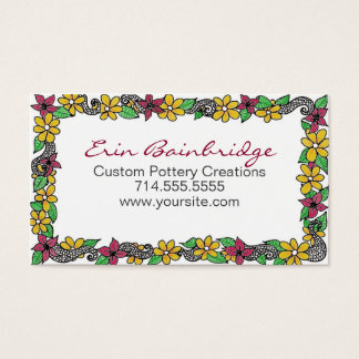 Hand drawn flower border business cards