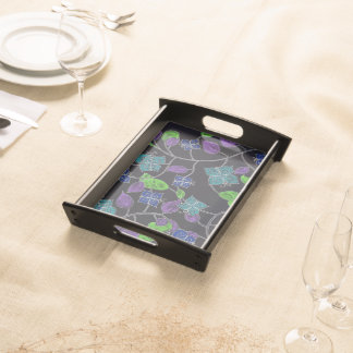 Hand drawn flower butterflies & leaves black serving tray