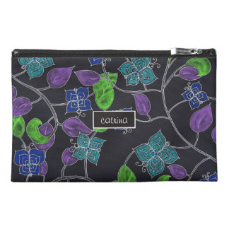 Hand drawn flower butterflies & leaves black travel accessory bags