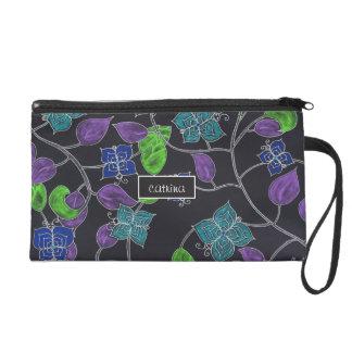 Hand drawn flower butterflies & leaves black wristlet purse