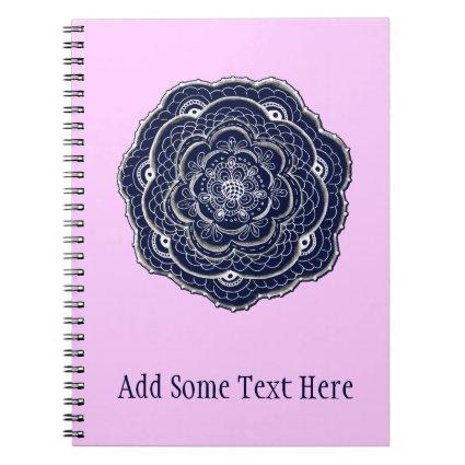 Hand Drawn Flower Doily Design Notebook