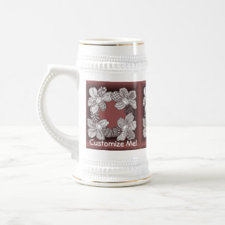 Hand Drawn Flower Lei Choose Any Color Beer Stein