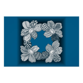 Hand Drawn Flower Lei Choose Any Color Poster