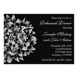 Hand Drawn Flower Rehearsal Dinner Invite (Black)