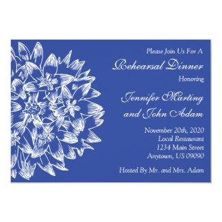 Hand Drawn Flower Rehearsal Dinner Invite (Navy)
