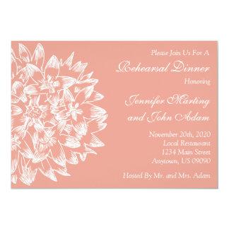 Hand Drawn Flower Rehearsal Dinner Invite (Peach)