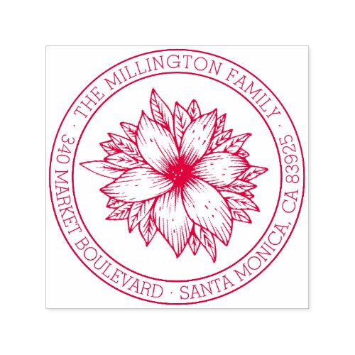 Hand_drawn Flower Round Family Name Return Address Self_inking Stamp