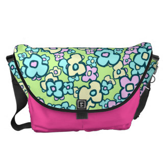 Hand Drawn Flowers Lively Floral Pattern Courier Bag