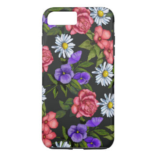 Hand Drawn Flowers on Black Background iPhone 8 Plus/7 Plus Case