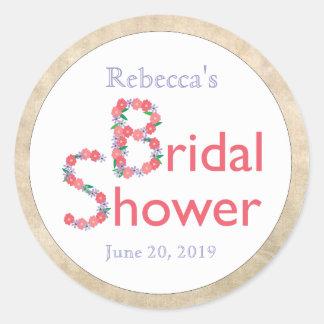 Hand Drawn Flowers on White Bridal Shower Classic Round Sticker