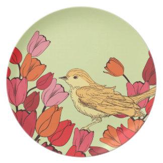 Hand Drawn Flowery Bird Background Melamine Plates