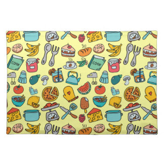 Hand Drawn Foods and Kitchen Tools Placemat