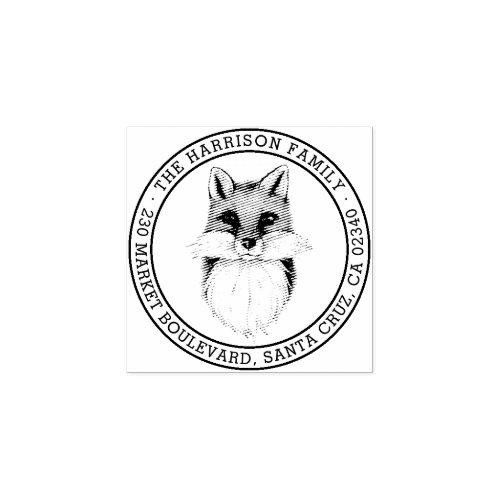 Hand_drawn Fox  Round Family Name Return Address Rubber Stamp
