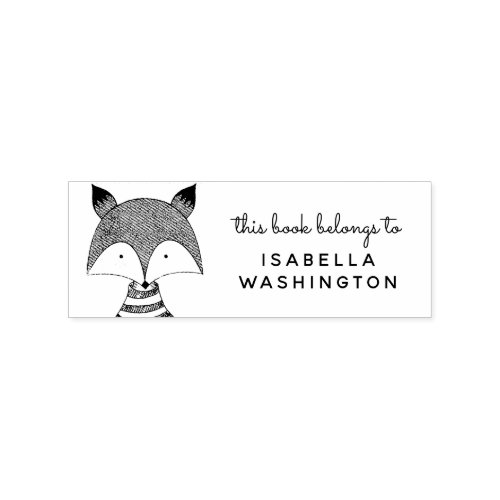 Hand_drawn Fox This Book Belongs To Custom Name Rubber Stamp