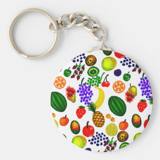 Hand Drawn Fruit Medley Pattern Keychain