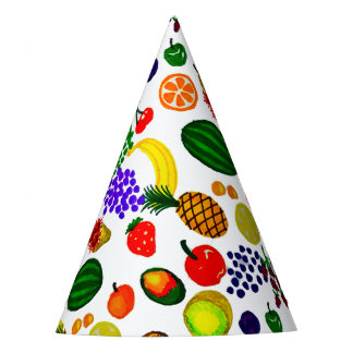 Hand Drawn Fruit Medley Pattern Party Hat