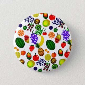 Hand Drawn Fruit Medley Pattern Pinback Button