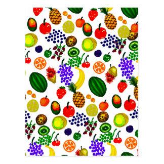Hand Drawn Fruit Medley Pattern Postcard