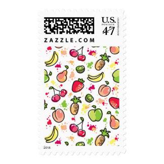 hand drawn fruits pattern postage