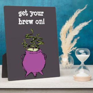 Hand-drawn & Fun Witches Brew Dark Cauldron Plaque