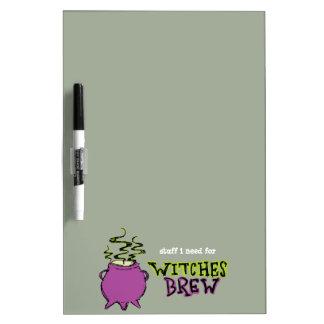 Hand-drawn & Fun Witches Brew Dark Dry-erase Board