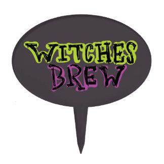 Hand-drawn & Fun Witches Brew Dark Type Cake Topper