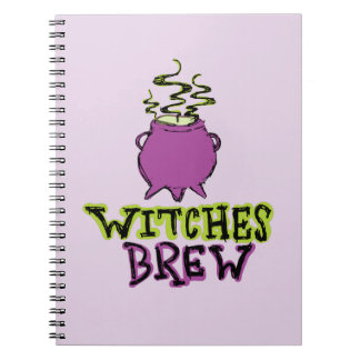 Hand-drawn & Fun Witches Brew Text Light Notebook