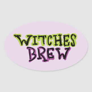 Hand-drawn & Fun Witches Brew Text Light Oval Sticker