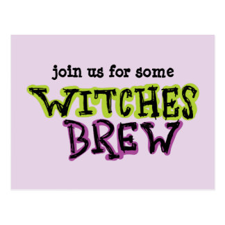 Hand-drawn & Fun Witches Brew Text Light Postcard