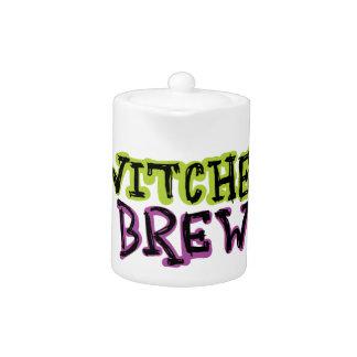 Hand-drawn & Fun Witches Brew Text Light Teapot