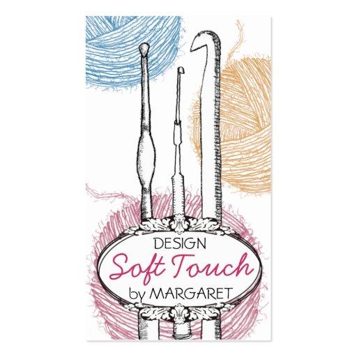 Hand drawn fuzzy yarn crochet hooks gift tag card business card templates