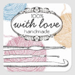 Hand drawn fuzzy yarn crochet hooks gift tag label square stickers