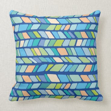 Beach Themed Hand Drawn Geometric Chevron Pattern -Coastal Throw Pillow