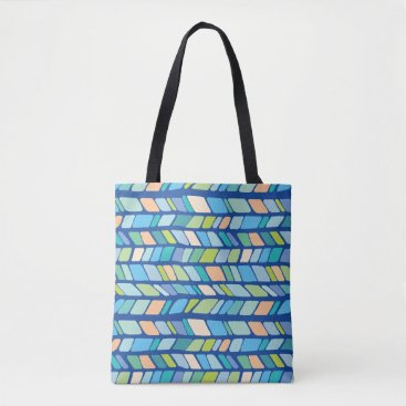 Beach Themed Hand Drawn Geometric Chevron Pattern -Coastal Tote Bag