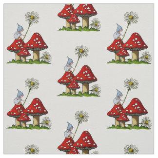 Hand Drawn Gnome Girl on Toadstools, Fantasy Art Fabric