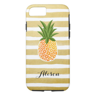 Hand Drawn Gold Stripes Pineapple Monogram Name iPhone 8/7 Case