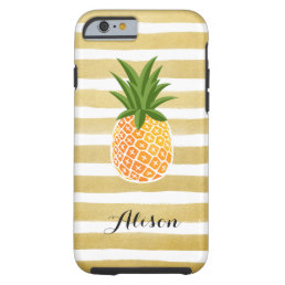 Hand Drawn Gold Stripes  Pineapple Monogram Name Tough iPhone 6 Case