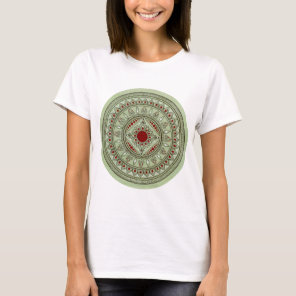 Hand Drawn Green And Red Mandala Flower Design T-Shirt