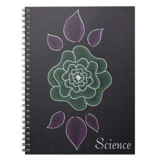 Hand drawn green floral customizable subject notebook