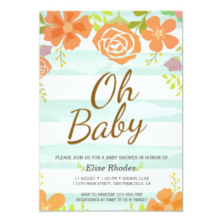 Hand drawn green stripes flower wreath baby shower card