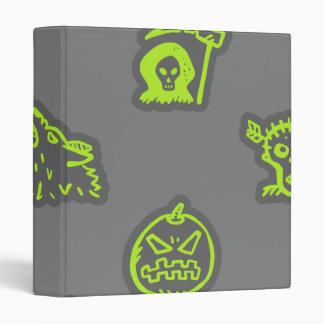 Hand Drawn Halloween Pattern Green and Grey 3 Ring Binder