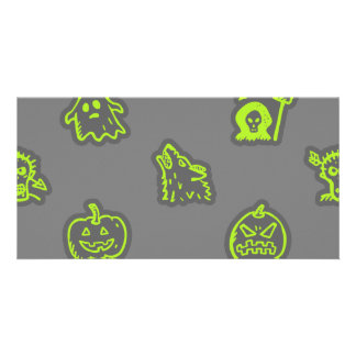 Hand Drawn Halloween Pattern Green and Grey Card