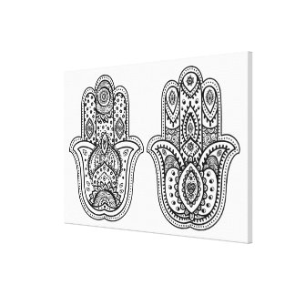 Hand Drawn Hamsa With Ornaments 6 Canvas Print
