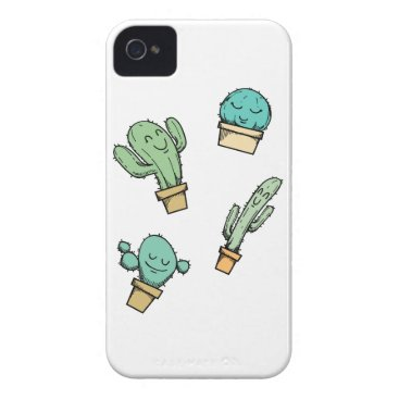 Hand Drawn Happy Cactuses Case-Mate iPhone 4 Case