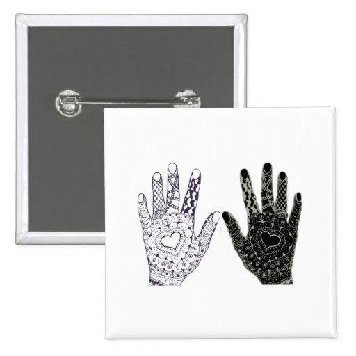 Hand Drawn Heart Doodled Hands Pinback Buttons
