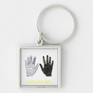 Hand Drawn Heart Doodled Hands Keychain