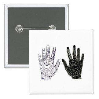 Hand Drawn Heart Doodled Hands Pinback Button