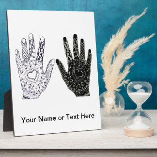 Hand Drawn Heart Doodled Hands Photo Plaques
