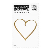 Hand Drawn Heart Outline in Faux Gold Glitter Postage