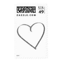 Hand Drawn Heart Outline in Faux Silver Glitter Postage